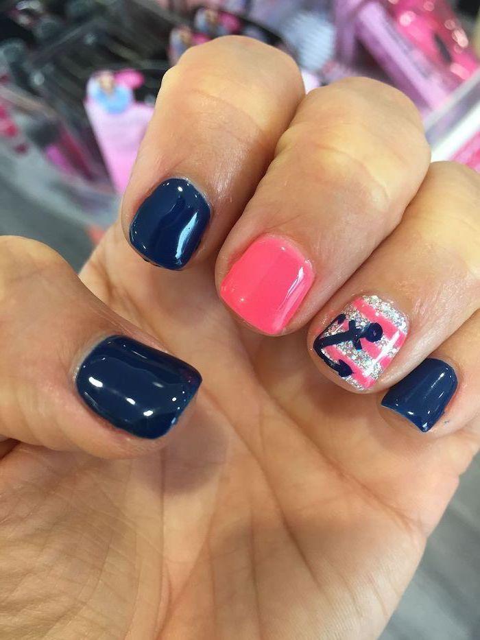 dark blue and pink nail polish, cute summer nails, short squoval nails, anchors decorations