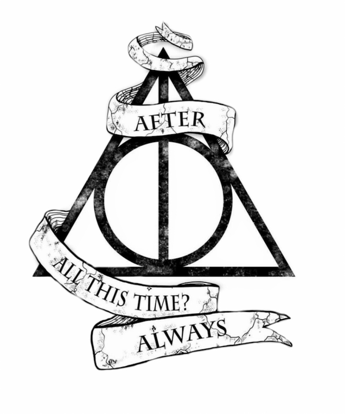after all this time always, harry potter doodles, symbol of the deathly hallows, black and white drawing