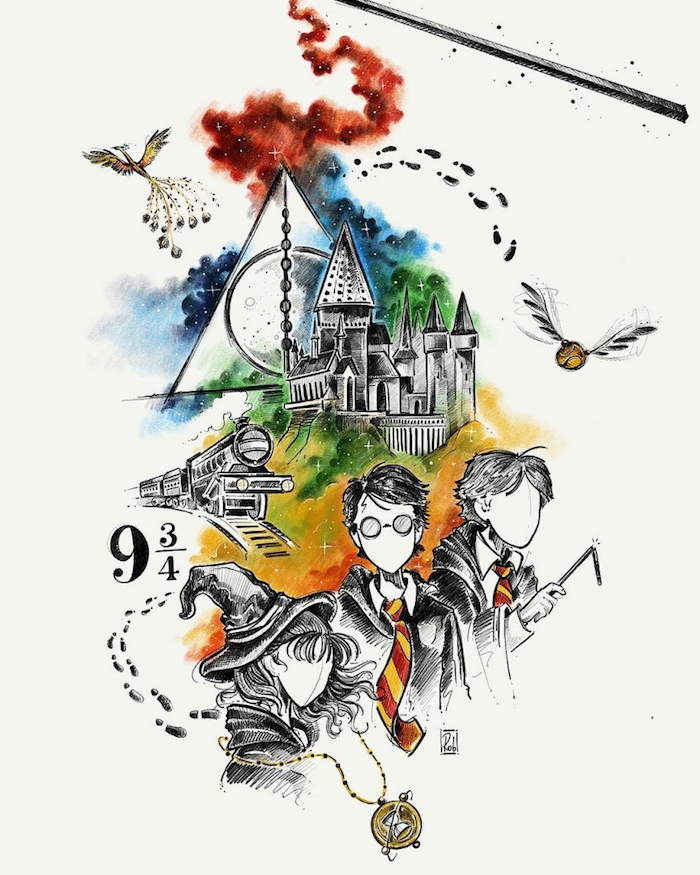 watercolor drawing, harry potter doodles, hogwarts castle, harry potter, hermione granger, ron weasley