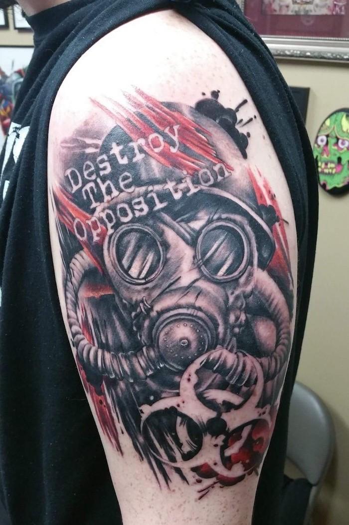 destroy the oposition trash polka skull man wearing gas mask radiation symbol shoulder tattoo