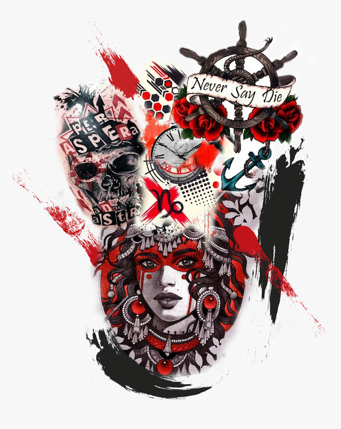 different designs for tattoos drawn in red and black trash polka tattoo style skull woman compass anchor