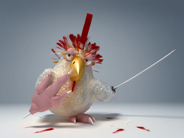 digital drawing of chicken holding a sword cool desktop wallpapers looking angry white background