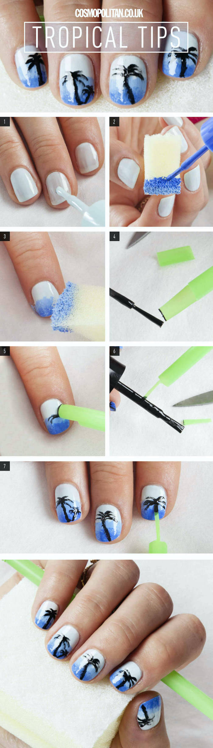 step by step diy tutorial, tropical tips, short squoval nails, blue and white nail polish, ombre nails, cute nail designs, palm trees decorations