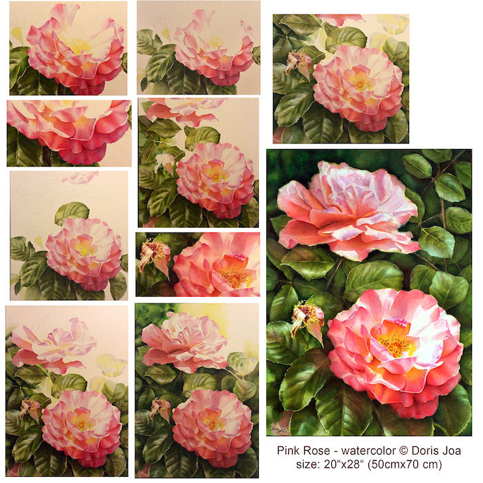 easy paintings for beginners, step by step diy tutorial, how to draw two pink roses, green leaves around them