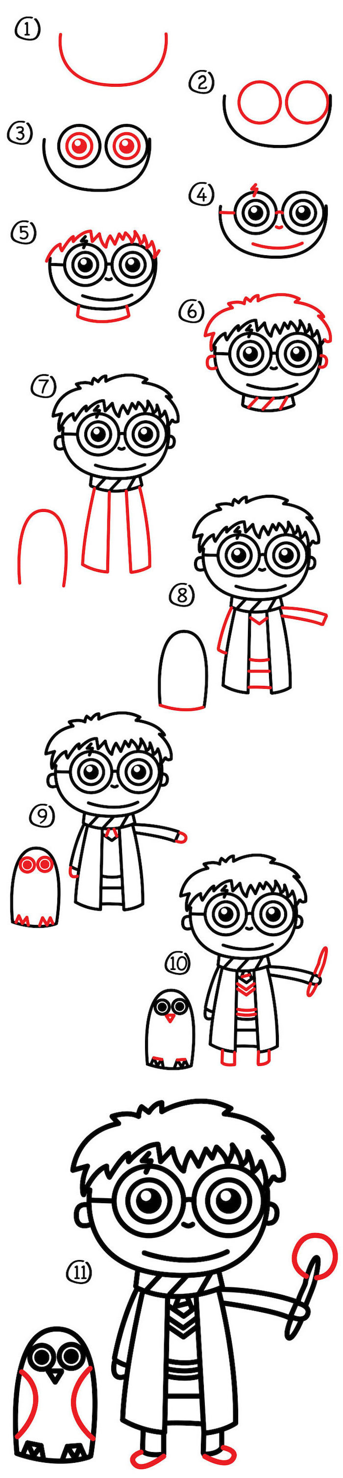 step by step diy tutorial, harry potter doodles, harry holding a wand, hedwig standing next to him, eleven step tutorial