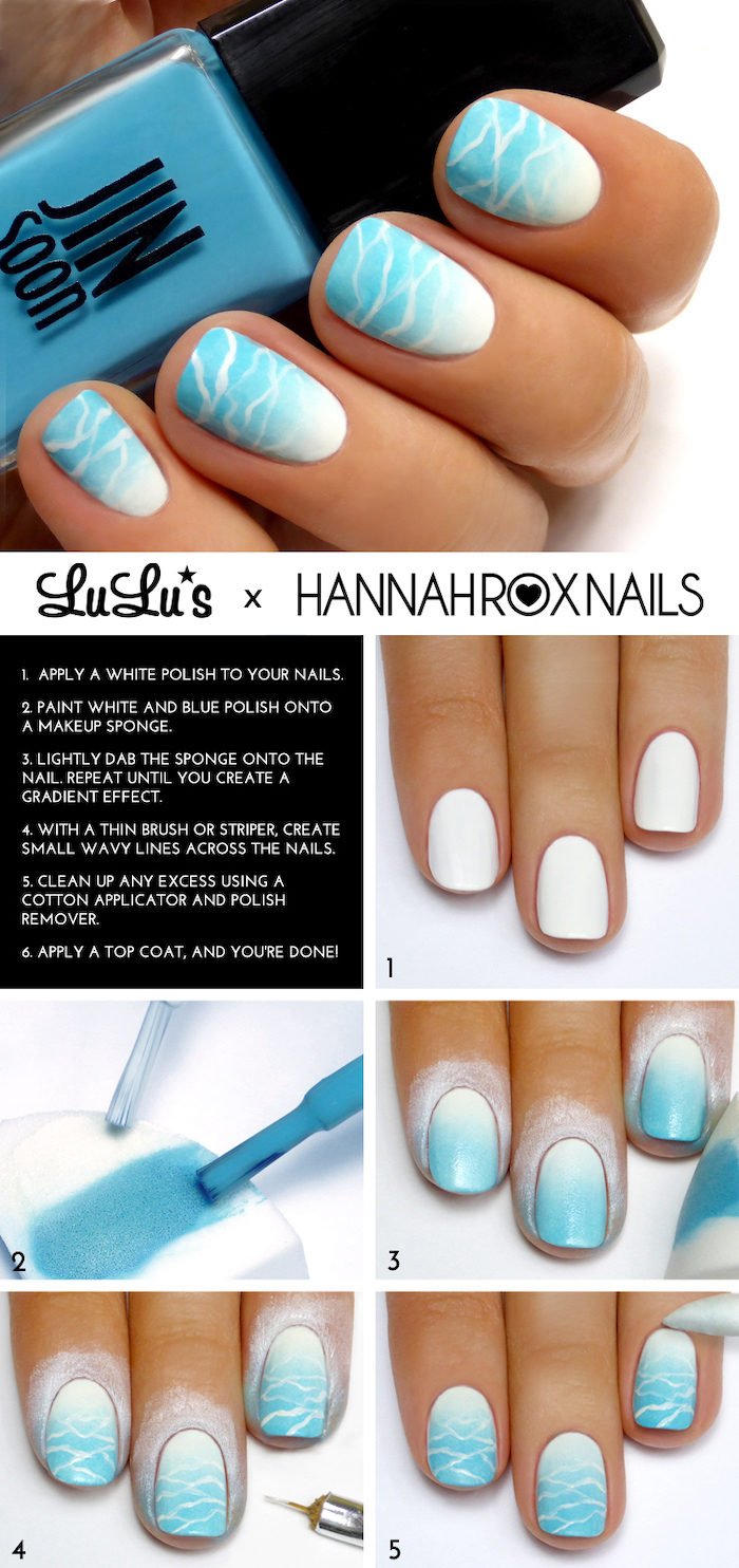 blue and white nail polish, ombre nails, cute nail designs, ocean waves decorations