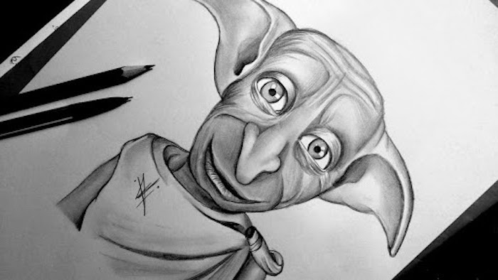 drawing of dobby, harry potter doodles, black and white pencil drawing, portrait drawing