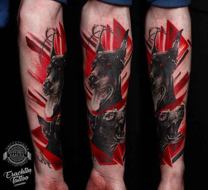 doberman with red eyes forearm tatoo surrounded by red shapes trash polka style side by side photos