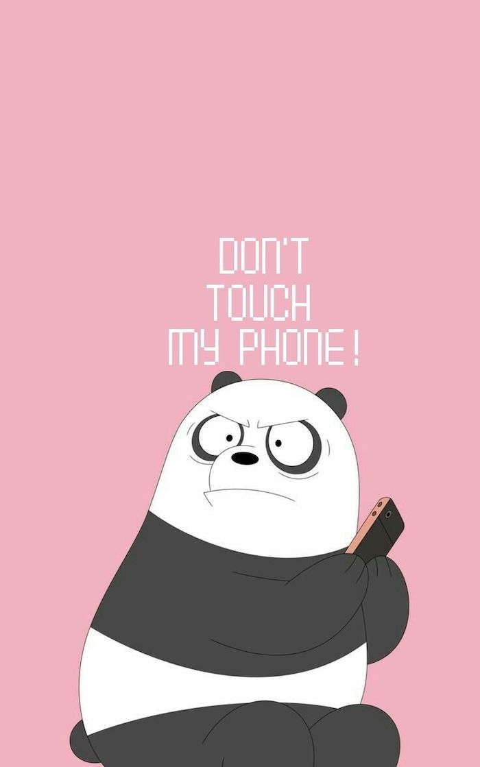 dont touch my phone written in white on pink background cool pc backgrounds cartoon drawing of panda holding phone