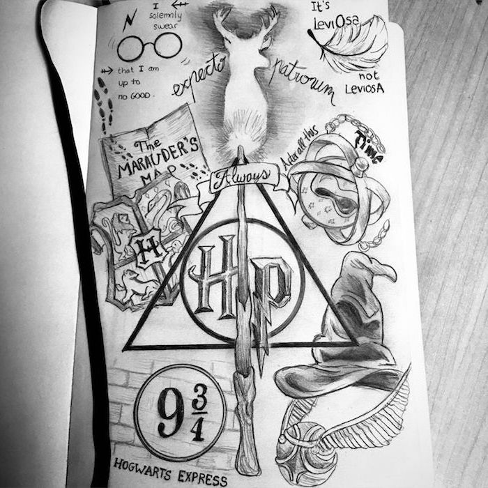 black and white pencil drawings, harry potter doodles, deathly hallows symbols, expecto patronum, marauder's map
