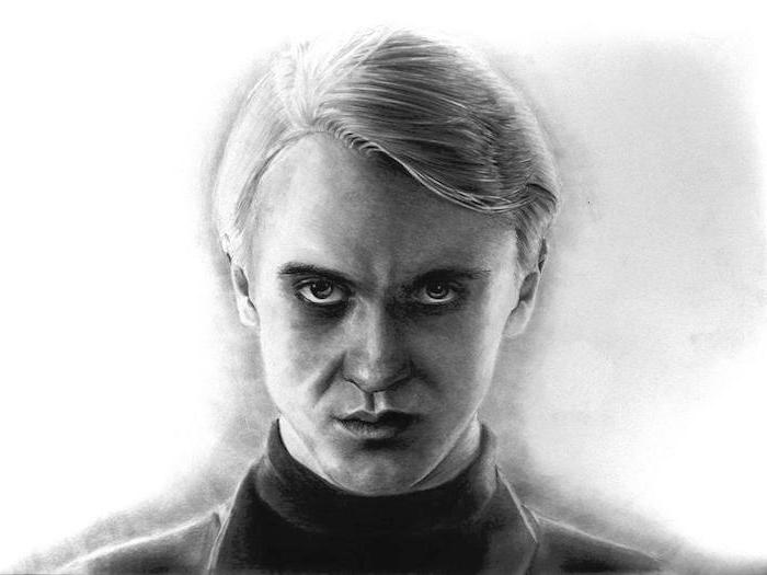 portrait drawing, drawing of draco malfoy, hermione granger drawing, black and white pencil drawing