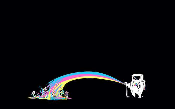 drawing of astronaut holding a hose cool desktop wallpapers water in rainbow colors watering flowers