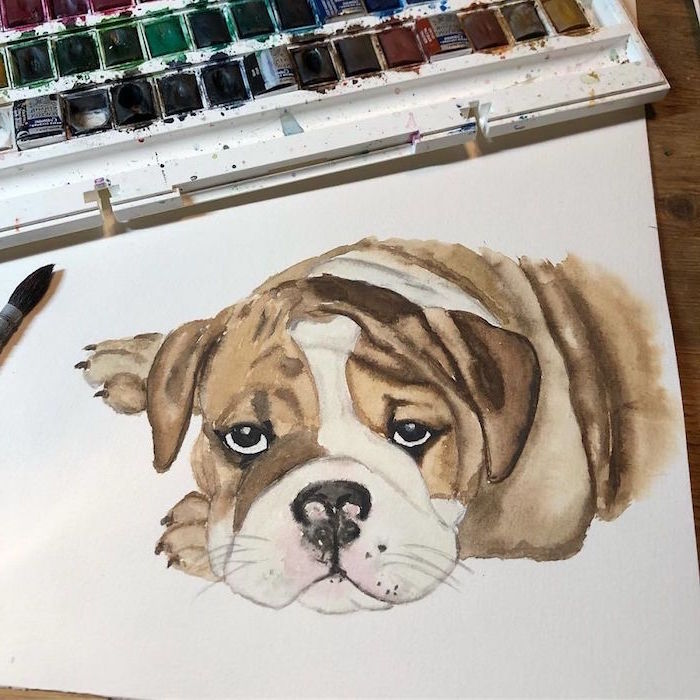painting of dog, brown and white watercolor, painted on white background, watercolor landscape painting