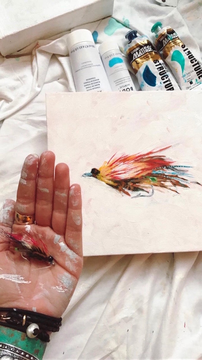 drawing of a feather, painted in different colors, easy paintings for beginners, painted on white background