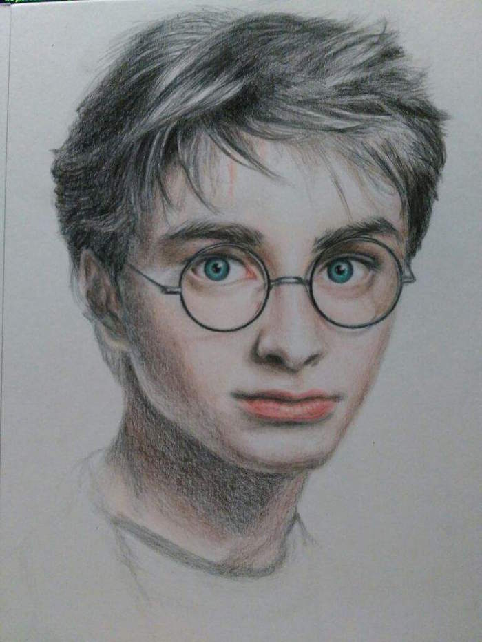 how to draw harry potter, step by step diy tutorial, colored drawing, white background