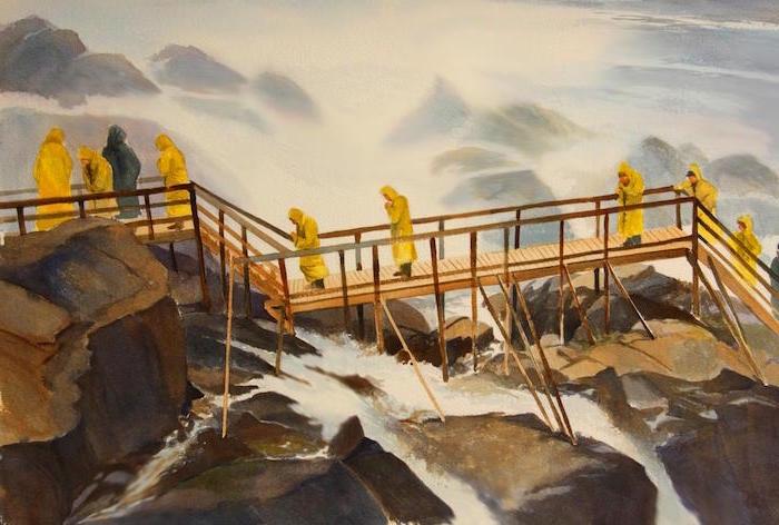 niagara falls, wooden bridge, watercolor landscape painting, people walking on the bridge, wearing raincoats