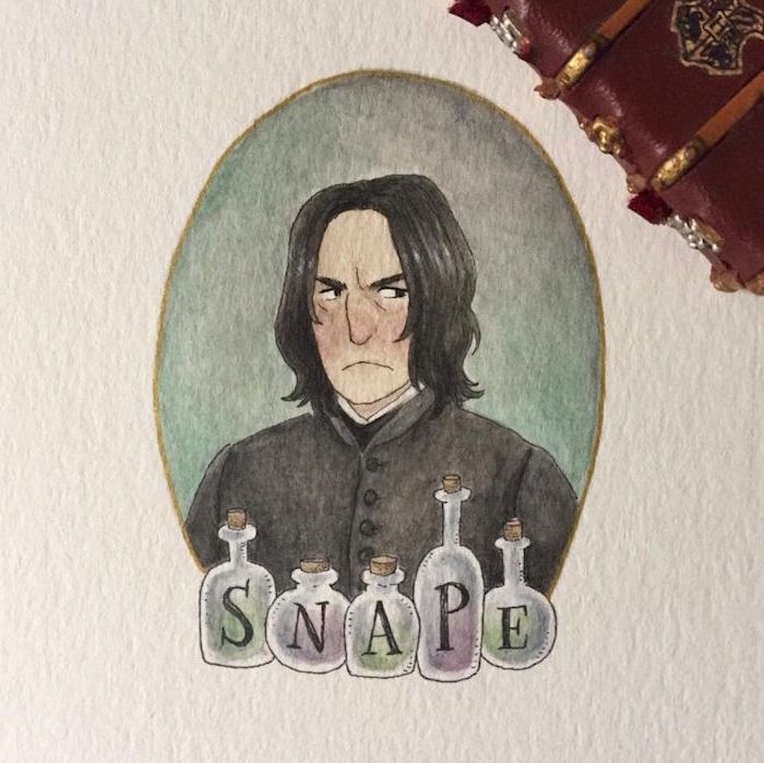 drwing of snape, portrait drawing, hermione granger drawing, potions bottles in front of him, white background