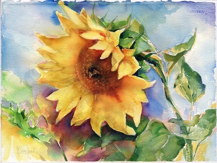painting of a sunflower, bee in the middle of it, beginner easy painting ideas, blue watercolor background