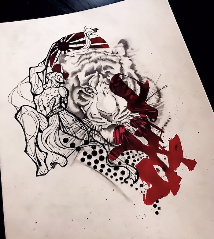 drawing of tiger head surrounded by red and black lines and dots trash polka chest tattoo white background
