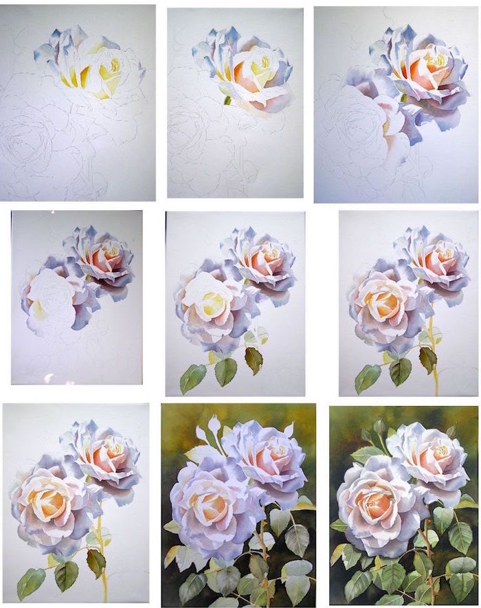 step by step diy tutorial, two white roses, surrounded by leaves, beginner easy painting ideas