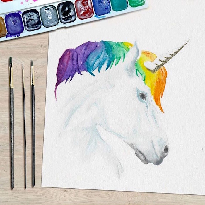 painting of a unicorn, mane painted in different colors, beginner easy painting ideas, painted on white background