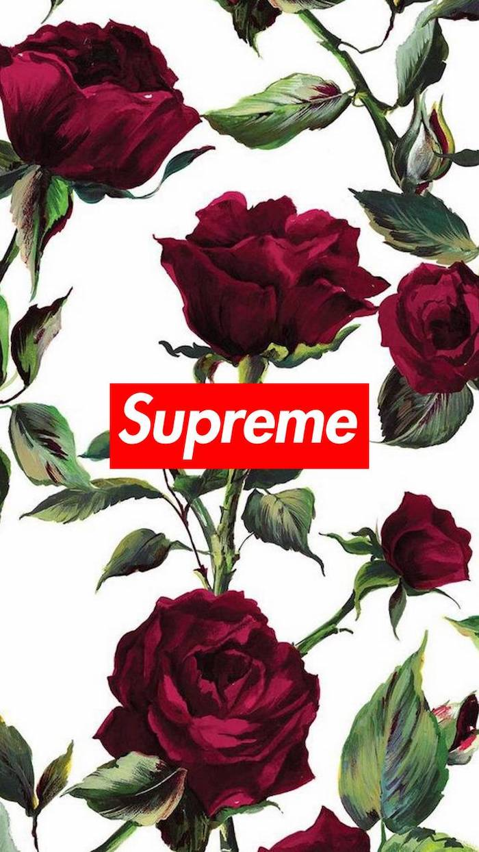drawings of red roses on white background with red and white supreme logo at the center cool supreme backgrounds