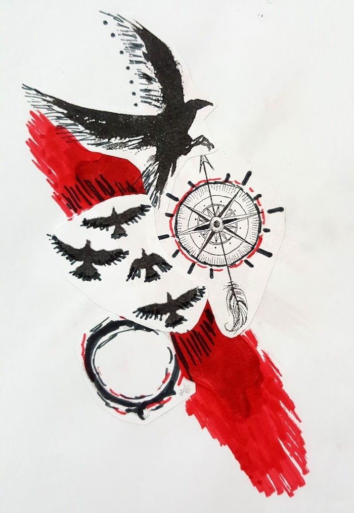 eagle birds compass red and black lines what is trash polka tattoo drawing on white background