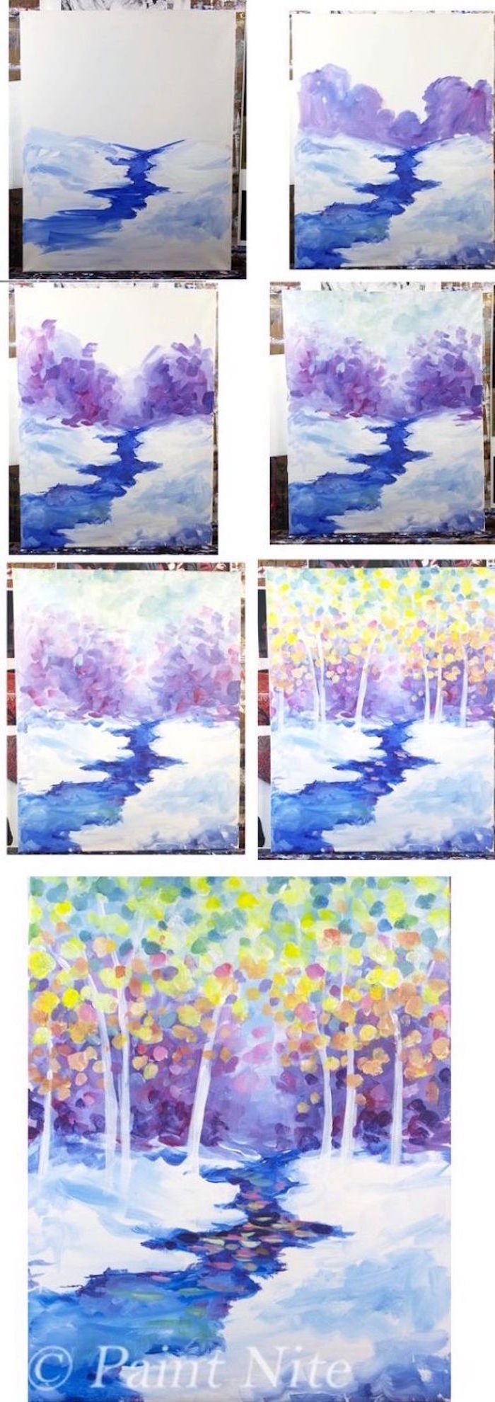 step by step diy tutorial, beginner easy painting ideas, river flowing through snowy field, tall trees in the background
