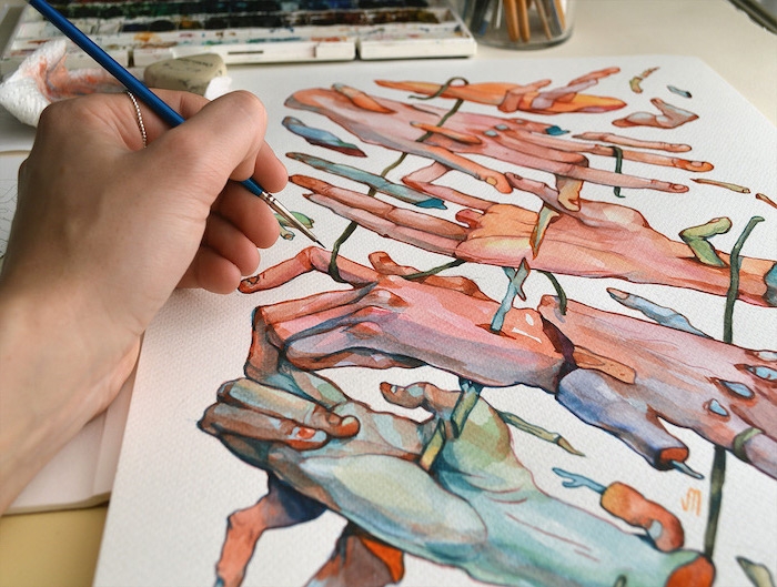 watercolor landscape, abstract art, painting of many hands, holding barbed wire, painted on white background