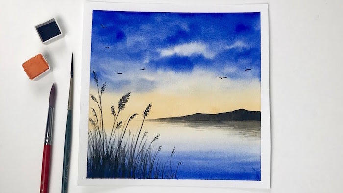 lake landscape, large rocks in the background, watercolor landscape, blue orange sunset sky