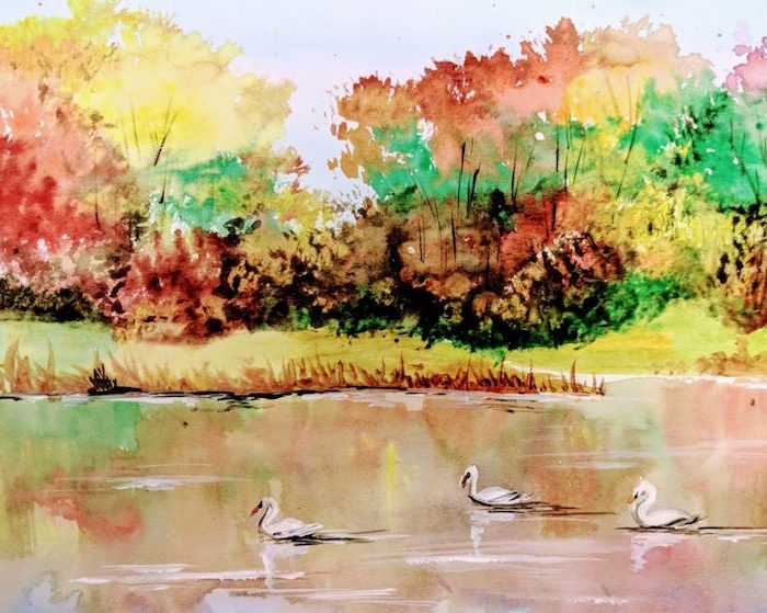 lake with swans, surrounded by trees, painted in different fall colors, easy watercolor flowers