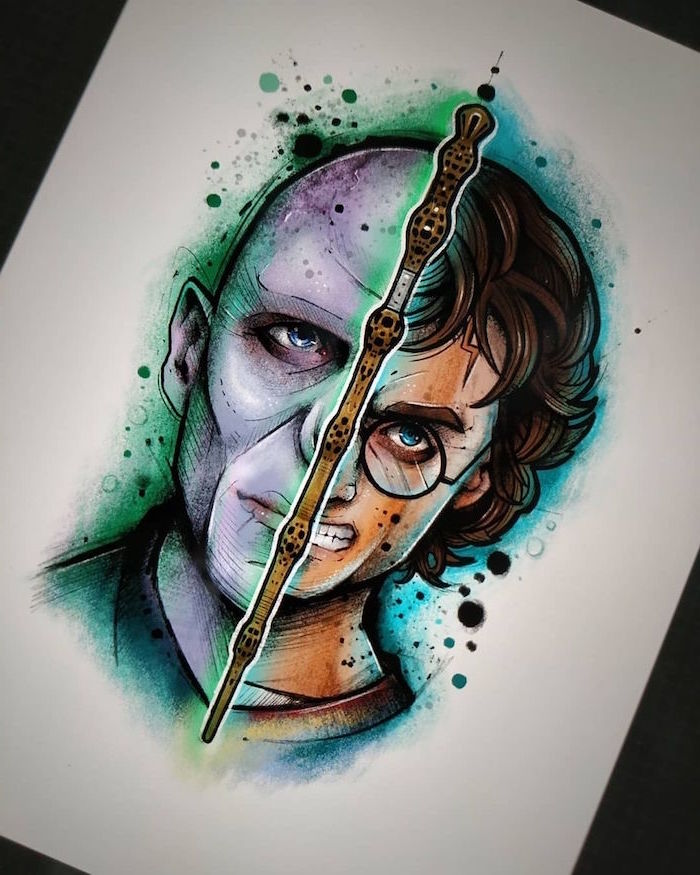 watercolor drawing, elder wand in the middle, half of harry's face, half of voldemort's face, hermione granger drawing, white background