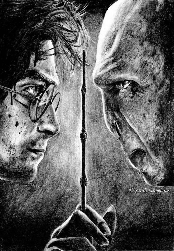elder wand in the middle, harry potter against voldemort, black and white pencil drawing, hogwarts drawing