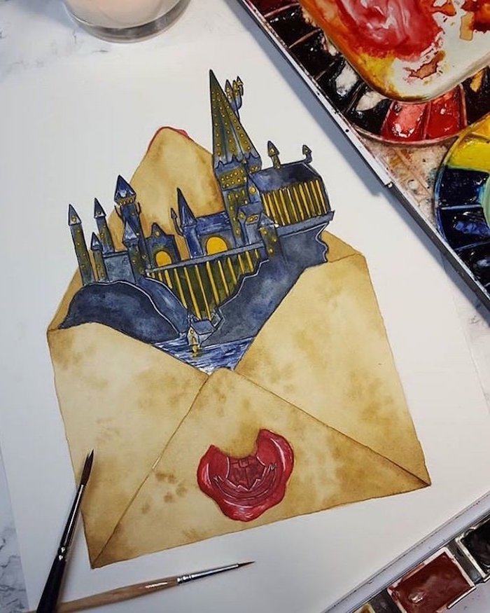 hogwarts castle, coming out of an envelope, hogwarts drawing, colored drawing, white background