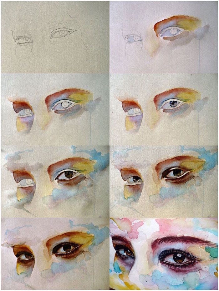 how to draw eyes, step by step diy tutorial, easy watercolor flowers, painted in watercolor in different colors