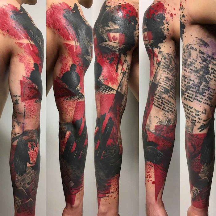 five side by side photos of tattoo sleeve trash polka eagle tattoo red and black tattoo