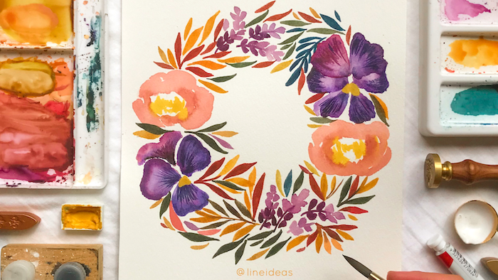 floral wreath, purple and orange flowers with colorful leaves, watercolor landscape, painted on white background