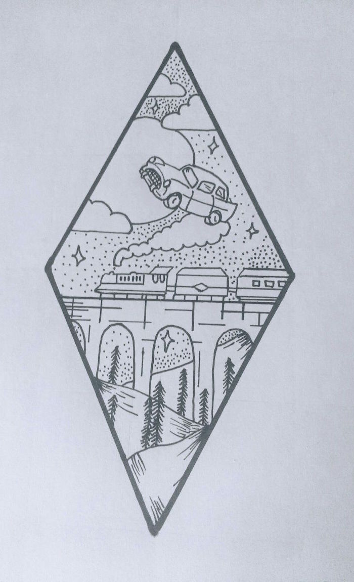 car flying above the hogwarts express, hogwarts drawing, black and white pencil drawing, white background