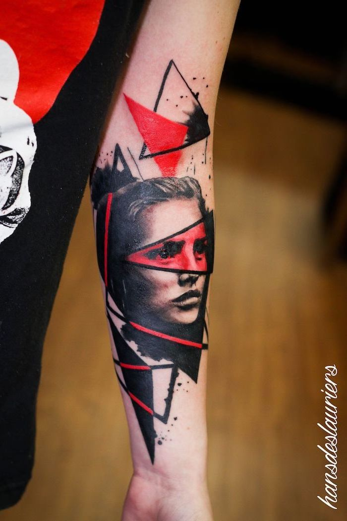 forearm tattoo of woman surrounded by red and black triangles what is trash polka tattoo