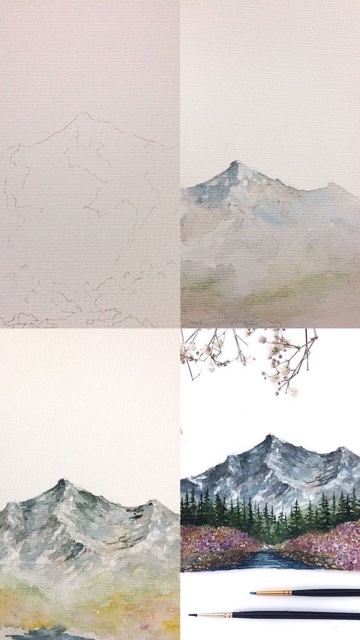step by step diy tutorial, easy watercolor painting ideas, mountain landscape in four steps, trees and river