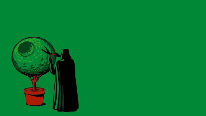 funny desktop backgrounds cartoon of darth vader trimming bush in the shape of the death star green background