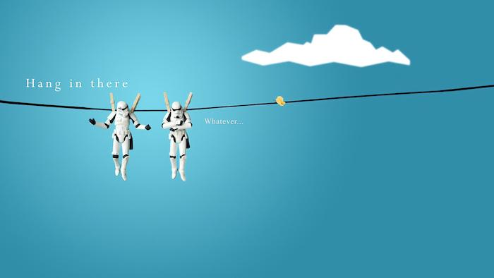 funny screensavers two stormtroopers hanging from a rope hang in there whatever written next to them