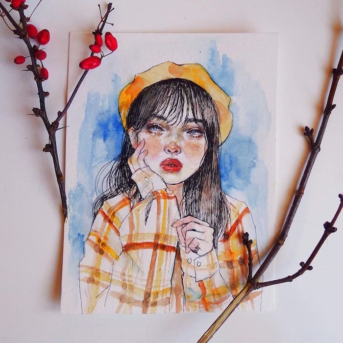 brunette girl with bangs, wearing orange and white plaid shirt, orange hat, easy watercolor painting ideas, blue background