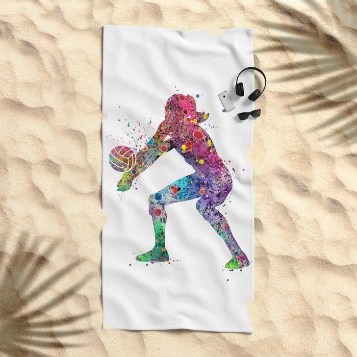woman playing volleyball, abstract art, watercolor landscape, colorful painting, printed on beach towel, placed on the sand