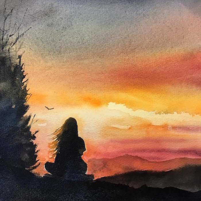 girl with long hair sitting on a rock, watching the sunset, watercolor landscape, birds flying in the distance