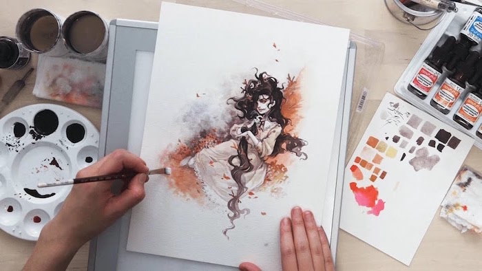 girl with long black hair, wearing long white dress with long sleeves, watercolor painting ideas, white background