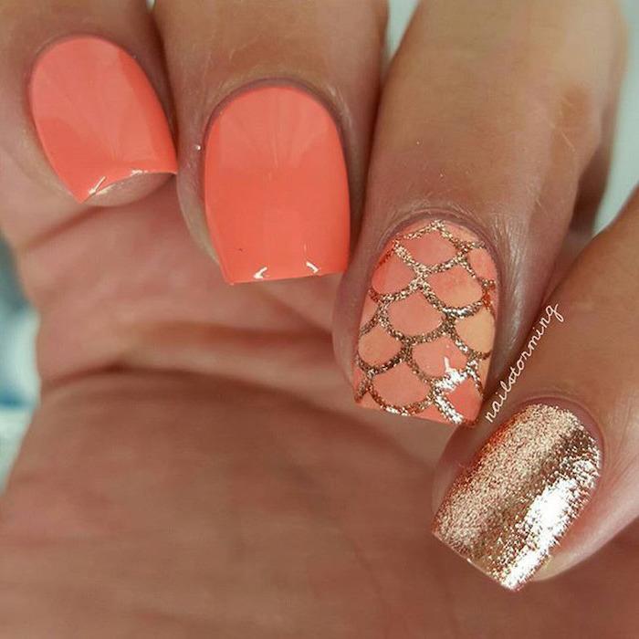 orange nail polish, cute summer nails, gold glitter nail polish, mermaid tail decorations, short square nails