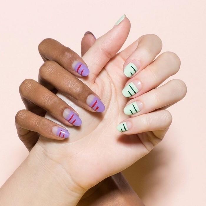 green and black nail polish, purple and red nail polish, cute nail ideas, medium length almond nails