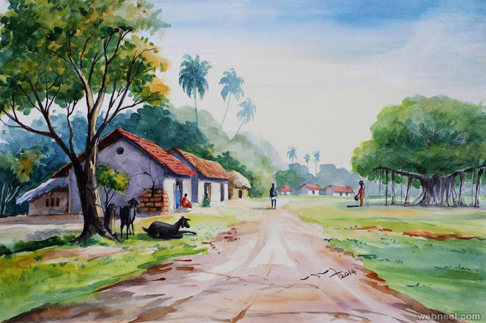 village landscape, easy watercolor painting ideas, small houses, tall trees and palm trees in the background