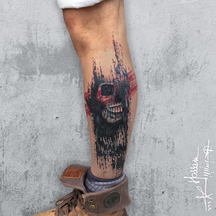 grey background trash polka tattoo sleeve leg tattoo of skull surrounded by red black lines